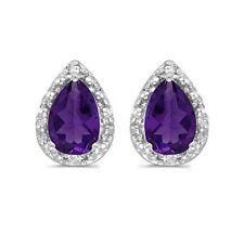 14K 1.32ctw Genuine Amethyst Pear Cut and Diamond White Gold Earrings