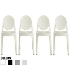 Set Of 4 Modern Plastic Molded Transparent Side Dining Acrylic Arm less Chair
