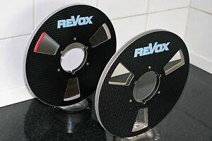 """2 X REVOX GREY BLUE BOUNDRY  LOGO METAL NAB HUB REEL TO REELS 10.5"""" X 1/4"""""""