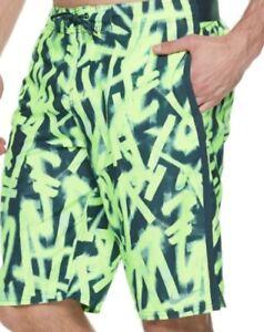 Big Mens Nike Yell Glow Diverge Print Swim Trunks Board Shorts, Size 2XL  - NWT