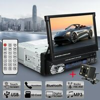 "Single 1Din 7"" Flip Car Stereo Radio Player Touch Screen BT USB SD AUX + Camera"