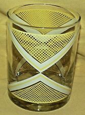 GEORGES BRIARD GLASS YELLOW WHITE DIAMOND GRID DESIGN GEOMETRIC BARWARE BAR.