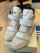 EP: Diesel Men's White Deco Impression Strap High-top Sneakers Size 12