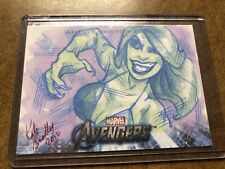 2012 UD MARVEL AVENGERS ASSEMBLE ART SKETCH CARD 1/1 Tigra Kate Red Bradley