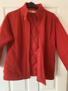 LADIES RED FLEECE ZIP JACKET COAT UK SIZE 14-16 GREAT CONDITION