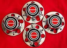 4pcs. 1980-1996 F150 BRONCO Wheel Hub CHROME RED Center Caps NEW w/ Screws