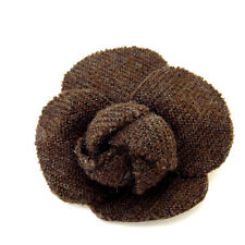 Woman Authentic Used Y1510 Chanel corsage brooch Camellia Brown