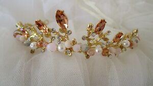 Tiara pink brown beaded bridal headpiece wedding New goldtone crown