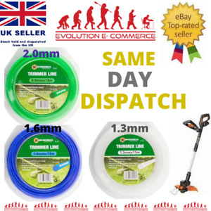 Nylon Strimmer Line, Cord 1.3mm/1.6mm/2.0mm x 15 M Fits universal grass trimmer