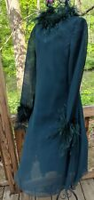Vintage 70's Mollie Parnis Dark Green Ostrich Feathers Dress Sz XS-S USA