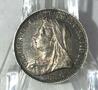 1893 Silver Great Britain Six Pence Queen Victoria KM-779-Sweet Grade!! :)