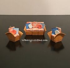 Handmade Golden Girls Mini Wicker Sofa Couch Chairs 3-Piece Holiday Ornament Set