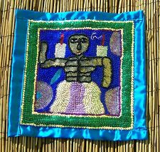 """Haitian Voodoo Vodou Drapo Flag with Beads, & Sequins by George Valris 15""""x15"""""""