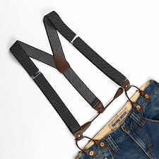 Men's Unisex Suspenders Women Braces Adjustable Belt Button Holes Stripes BD752