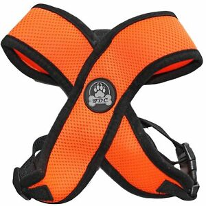 ORANGE Dog Harness More Comfort Puppy Soft Mesh Small Medium Large XXS -XL