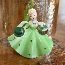 Lefton Vintage March Saint Patrick's Day Porcelain Pettiskirt Figurine