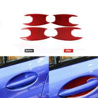 4Pcs Red Carbon Fiber Outer Door Bowl Cover Trim For BMW 3 Series G20 2019-2020