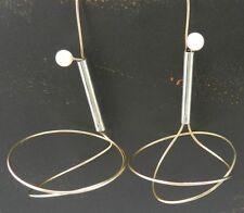Betty Cooke - Modernist Pearl, 14K Gold & Sterling Swirl Earrings