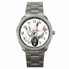 Bowling Ball and Pins Strike Bowler Stainless Steel Watch