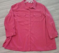 Roaman's Women Solid Pink Long Sleeve Poly Shirt Blouse Jacket     Plus Size 2X