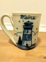 Hand Thrown Pottery Mug Maine Lighthouse Saltwork Style New England Coffee Cup