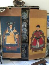 Antique Chinese ancestral Emperor and Empress Portraits paintings 6' high