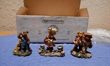 Boyds Bearly Built Villages Edmund T Bear, Cookie Beanstir, Myron and Thayer