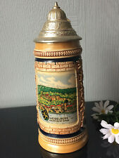 Antique Collectable GERMANY Beer Stein Tankard Mug Heavy with Pewter Lid 550ml