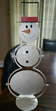 """Winter Holiday Table Top Decor~2 Tier White Snowman Serving Tray~Centerpiece 19"""""""