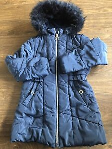 Girls Warm Winter Padded Coat Age 7-8 Years Navy Hooded