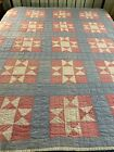 WOW+1930s+Vintage+Handmade+Hand+Quilted+Ohio+Star+Quilt+73x78+twin+%23189+