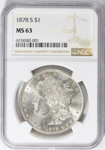 1878-S Morgan Silver Dollar - NGC  MS-63 - Certified Mint State 63