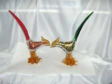 Vintage 2 Murano Art Glass Pheasants Figurines Sculptures Red & Green Italy NICE