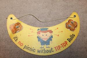 """Tip-Top Bread U.S. Navy 1956 Visor Advertising Vintage Paper 9"""" Gorget w/Cord"""