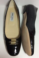 NEW Jimmy Choo Women's Croc Embossed Patent Leather Flats Black Sz 39.5 Fit 9