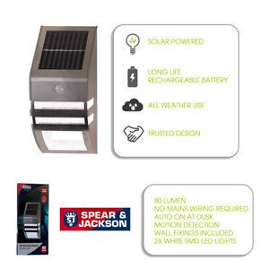 Spear & Jackson PIR Motion Sensor Solar Security Garden Wall Outdoor Light