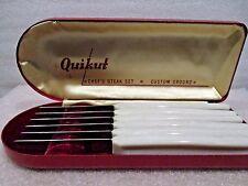 "Boxed Set 6 Knives  QUIKUT ""Chef's Steak Set"" Custom Ground Stainless"