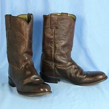 Justin Mens 8 EE Extra Wide Cowboy Boots Corona Brown Leather J Flex Roper 3714