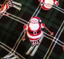 Saddlebred Skiing Santa Mens Sleep Pants Med NWT Plaid Green Christmas Elastic
