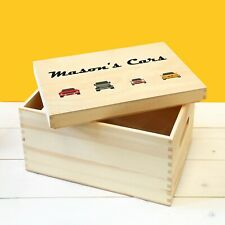 Personalised Kids Wooden Cars Toy Box with Lid, Childrens Racing Car Storage Box