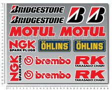 Sponsor race decal 14 sticker set Motul ohlins ngk brembo rk Bridgestone laminat