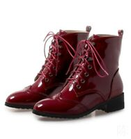 Womens Patent Leather Lace up Round Toe Low Heel Combat College Ankle Boots New