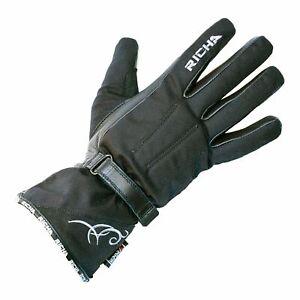 Richa Carmen Ladies Leather Motorcycle Motorbike Waterproof Gloves - Black