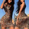 Womens Strappy Leopard Print Sexy Bodycon Stretch Summer Beach Party Mini Dress