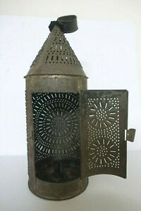 Early Antique Punched Pierced Tin Candle Lantern Revolutionary War Era Primitive
