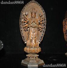Tibet Buddhism Boxwood wood Carve Avalokitesvara Kwan-yin Guanyin Buddha Statue