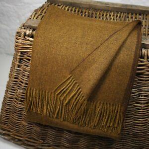 Dark Mustard  100% Wool British Made Tweed Fabric Blanket Throw *Not Harris