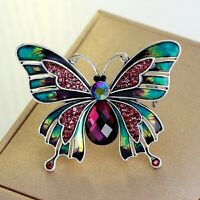 Sparkling Enamelled Rhinestone Crystal Silver Butterfly Brooch Pin+Gift Bag UK