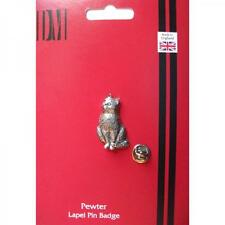 Cat English Pewter Lapel Pin Badge Pussy lover Owner Kitten Birthday Present