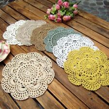 8 Inch Doilies Crochet Round Lace Beige Handmade Cotton Coasters, Pack Of 4